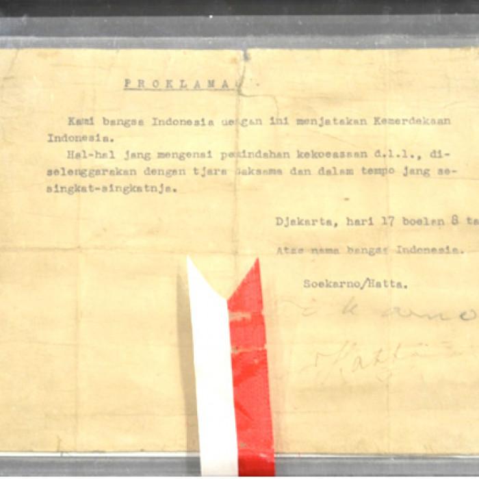 Teks Proklamasi Kemerdekaan Bangsa Indonesia Ketikan Yang Ditandatangani Oleh Soekarno Dan Mohammad Hatta Sistem Registrasi Nasional Cagar Budaya